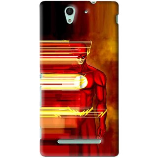 Snooky Printed Electric Man Mobile Back Cover For Sony Xperia C3 - Red