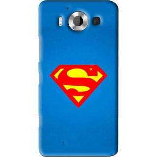 Snooky Printed Super Logo Mobile Back Cover For Microsoft Lumia 950 - Blue