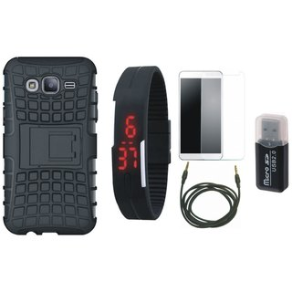 Oppo F3 Defender Tough Hybrid Shockproof Cover with Memory Card Reader, Free Digital LED Watch, Tempered Glass and AUX Cable