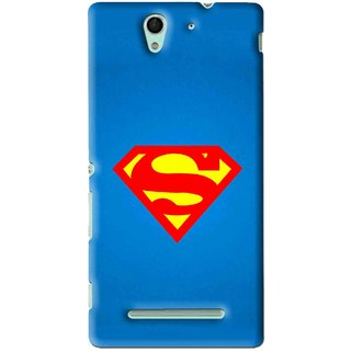 Snooky Printed Super Logo Mobile Back Cover For Sony Xperia C3 - Blue