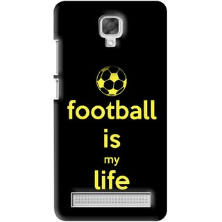Snooky Printed Football Is Life Mobile Back Cover For Micromax Bolt Q331 - Black