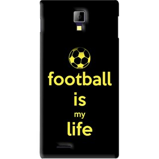 Snooky Printed Football Is Life Mobile Back Cover For Micromax Canvas Xpress A99 - Black