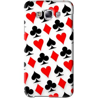 Snooky Printed Playing Cards Mobile Back Cover For Samsung Galaxy E7 - Multi
