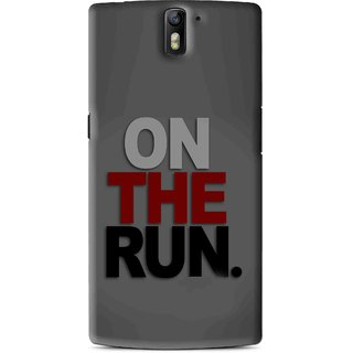 Snooky Printed On The Run Mobile Back Cover For OnePlus One - Grey