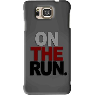 Snooky Printed On The Run Mobile Back Cover For Samsung Galaxy Alpha - Grey