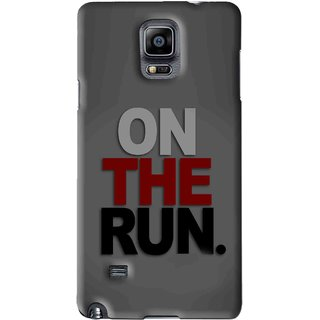 Snooky Printed On The Run Mobile Back Cover For Samsung Galaxy Note 4 - Grey