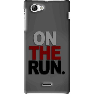 Snooky Printed On The Run Mobile Back Cover For Sony Xperia J - Grey