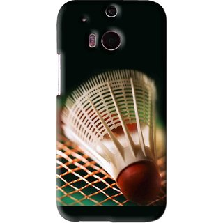 Snooky Printed Badminton Mobile Back Cover For HTC One M8 - Black