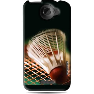 Snooky Printed Badminton Mobile Back Cover For HTC One X - Black