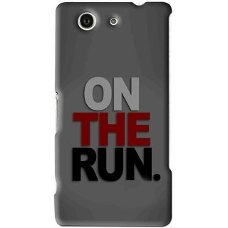 Snooky Printed On The Run Mobile Back Cover For Sony Xperia Z4 Mini - Grey