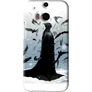 Snooky Printed Black Bats Mobile Back Cover For HTC One M8 - Black