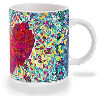 Mooch Wale Geometric Love Heart Pattern Ceramic Mug