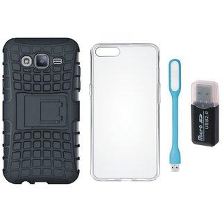 Vivo V7 Plus Shockproof Kick Stand Defender Back Cover with Memory Card Reader, Silicon Back Cover, USB LED Light