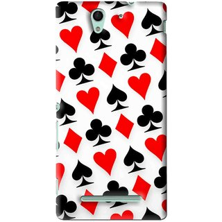 Snooky Printed Playing Cards Mobile Back Cover For Sony Xperia C3 - Multi