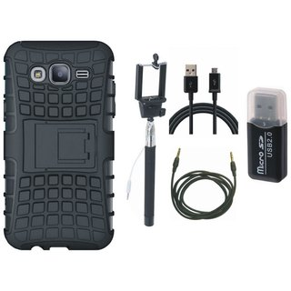Oppo F3 Defender Back Cover with Kick Stand with Memory Card Reader, Selfie Stick, USB Cable and AUX Cable