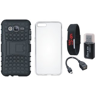 Oppo A57 Shockproof Tough Armour Defender Case with Memory Card Reader, Silicon Back Cover, Digital Watch and OTG Cable