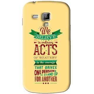 Snooky Printed Bravery Mobile Back Cover For Samsung Galaxy S Duos S7562 - Yellow