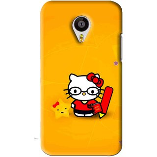 Snooky Printed Kitty Study Mobile Back Cover For Meizu MX4 - Orange