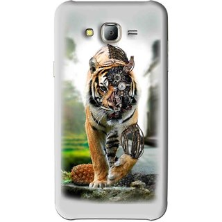 Snooky Printed Mechanical Lion Mobile Back Cover For Samsung Galaxy J7 - Grey