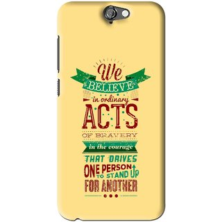 Snooky Printed Bravery Mobile Back Cover For HTC One A9 - Yellow