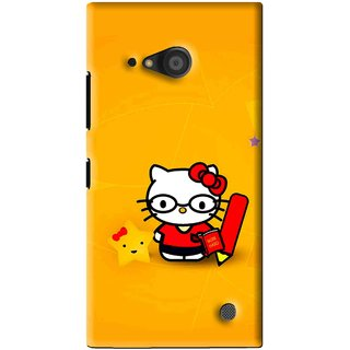 Snooky Printed Kitty Study Mobile Back Cover For Microsoft Lumia 735 - Orange