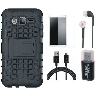 Oppo F3 Shockproof Tough Armour Defender Case with Memory Card Reader, Earphones, Tempered Glass and USB Cable