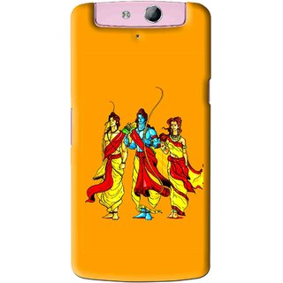 Snooky Printed God Rama Mobile Back Cover For Oppo N1 Mini - Orrange