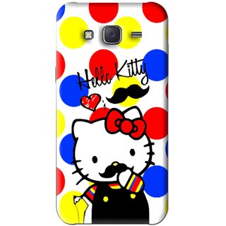 Snooky Printed moustache Kitty Mobile Back Cover For Samsung Galaxy J5 - Multi