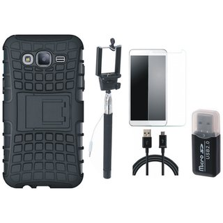 Oppo F3 Defender Back Cover with Kick Stand with Memory Card Reader, Free Selfie Stick, Tempered Glass and USB Cable