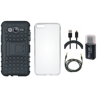 Oppo F3 Defender Back Cover with Kick Stand with Memory Card Reader, Silicon Back Cover, USB Cable and AUX Cable