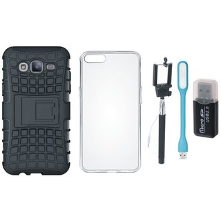 Oppo F3 Shockproof Kick Stand Defender Back Cover with Memory Card Reader, Silicon Back Cover, Selfie Stick and USB LED Light