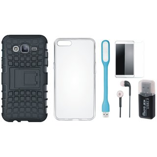 Oppo F3 Shockproof Kick Stand Defender Back Cover with Memory Card Reader, Silicon Back Cover, Tempered Glass, Earphones and USB LED Light