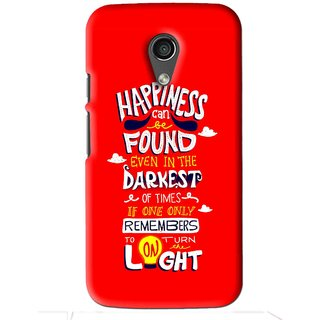 Snooky Printed Happiness Is Every Where Mobile Back Cover For Moto G2 - Red