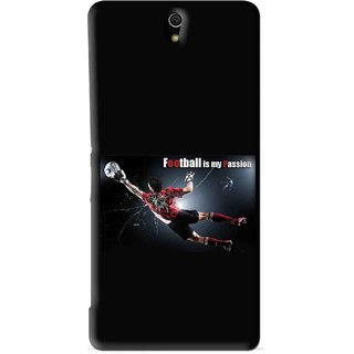Snooky Printed Football Passion Mobile Back Cover For Sony Xperia C5 - Black