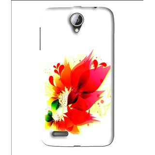 Snooky Printed Flowery Red Mobile Back Cover For Lenovo A850 - White