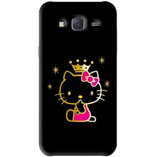 Snooky Printed Princess Kitty Mobile Back Cover For Samsung Galaxy J5 - Black