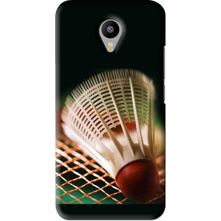 Snooky Printed Badminton Mobile Back Cover For Meizu M2 Note - Black