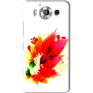Snooky Printed Flowery Red Mobile Back Cover For Microsoft Lumia 950 - White
