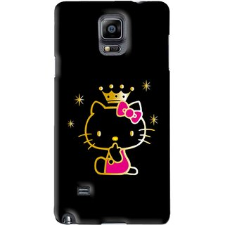 Snooky Printed Princess Kitty Mobile Back Cover For Samsung Galaxy Note 4 - Black