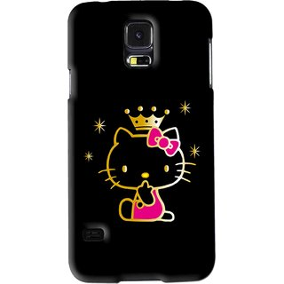 Snooky Printed Princess Kitty Mobile Back Cover For Samsung Galaxy S5 - Black