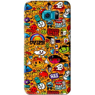 Snooky Printed Freaky Print Mobile Back Cover For Samsung Galaxy S6 Edge - Yellow