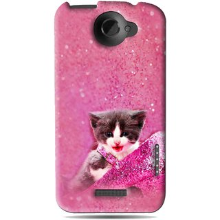 Snooky Printed Pink Cat Mobile Back Cover For HTC One X - Pink
