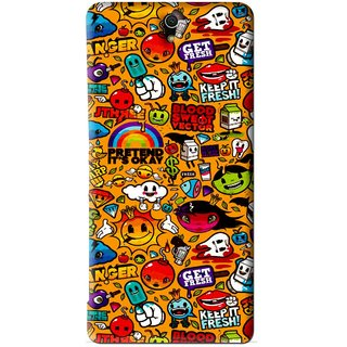 Snooky Printed Freaky Print Mobile Back Cover For Sony Xperia C5 - Yellow