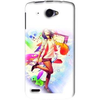 Snooky Printed Shopping Girl Mobile Back Cover For Lenovo S920 - White