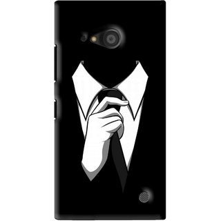 Snooky Printed White Collar Mobile Back Cover For Microsoft Lumia 735 - Black