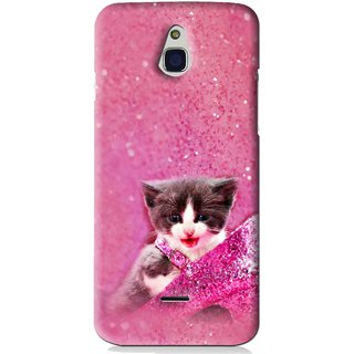 Snooky Printed Pink Cat Mobile Back Cover For Infocus M2 - Pink