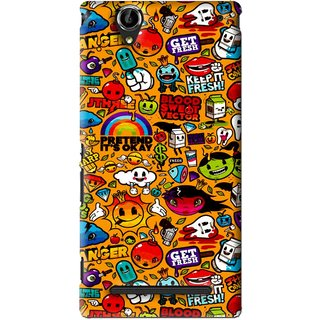 Snooky Printed Freaky Print Mobile Back Cover For Sony Xperia T2 Ultra - Yellow