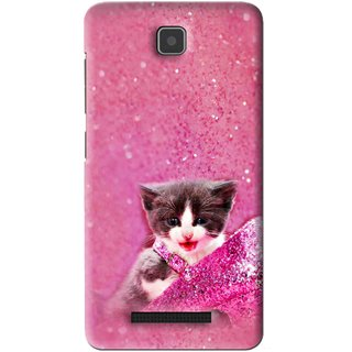 Snooky Printed Pink Cat Mobile Back Cover For Lenovo A1900 - Pink