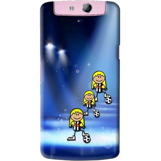 Snooky Printed Girls On Top Mobile Back Cover For Oppo N1 Mini - Blue