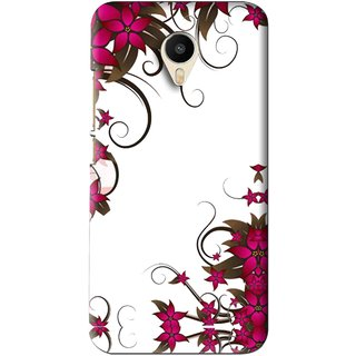 Snooky Printed Flower Creep Mobile Back Cover For Meizu M1 Metal - Pink